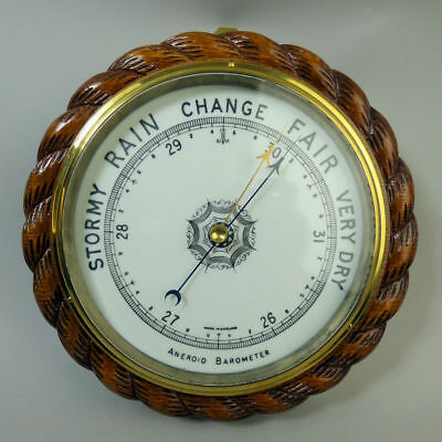 Antique Rope Twist Aneroid Wall Barometer C.1920