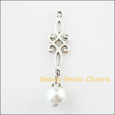6 New Chinese Knot Charms White Glass Beads Pendants Tibetan Silver Tone 9x42mm