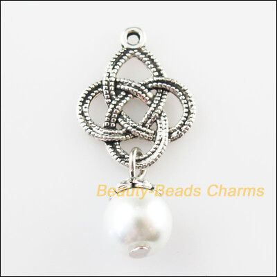 6 New Chinese Knot Charms White Glass Beads Pendants Tibetan Silver Tone 14x30mm