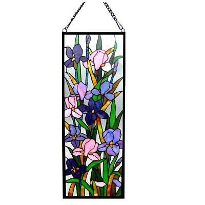 Stained Glass Chloe Lighting Iris Design Window Panel CH1P163PF32-GPN