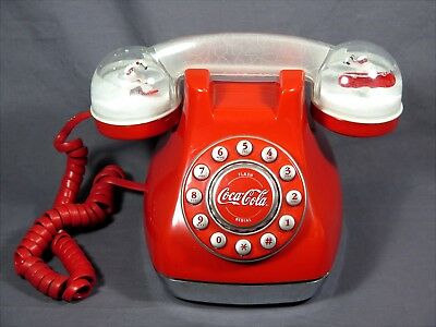 Vintage Coca Cola Snow Dome Phone c.2001 RED w/Polar Bears!