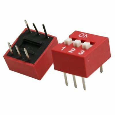 10PC Red 2.54mm Pitch 3-Bit 3 Positions Ways Slide Type DIP Switch