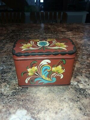VINTAGE Tole Painted Recipe? Box Tin Initials R.S. 64'