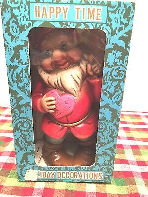 "Fairy Garden Gnome w Heart Resin 8"" H Statue Indoor Outdoor Vintage Boxed Japan"