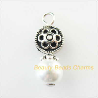 5 New Round Flower Charms White Glass Beads Pendants Tibetan Silver Tone 9x23mm