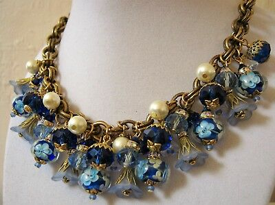 Vintage Cluster Statement Necklace Crystal Glass Charm Blue Jean Haskell Chain