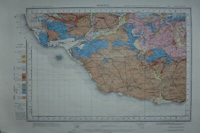 Large Geological map of Bridgend - South Wales