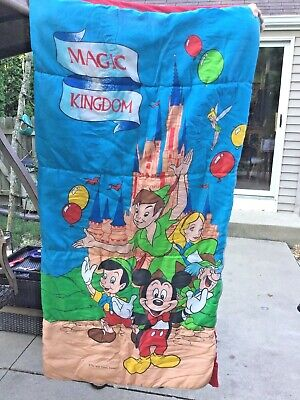 Vintage Walt Disney Magic Kingdom Mickey Mouse Peter Pan sleeping bag Alice Tink