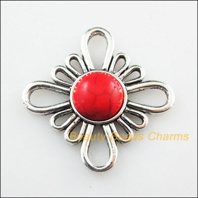 2 New Charms Flower Red Turquoise Tibetan Silver Tone Connectors Retro 31mm