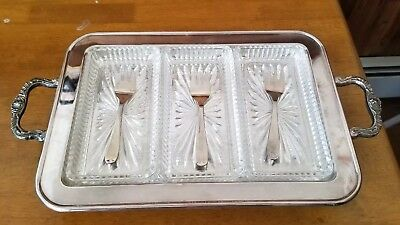 Vintage Eales Sheffield 1779 Silverplate Footed Relish Tray & Three Glass dishes