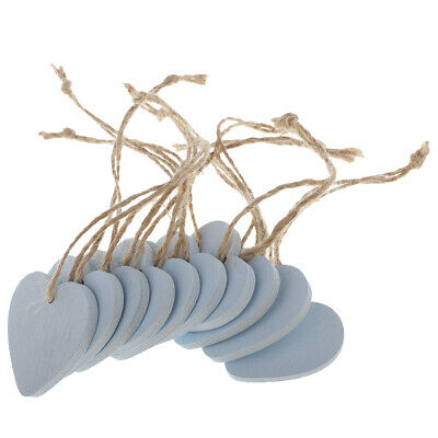 10x Blue Wooden Heart MDF Blank Cutout Tags for Craft Bunting Wedding Party