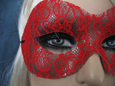 Maske LACE SPITZE ROT, Venezianische Domino, Cosplay, Shades of Grey
