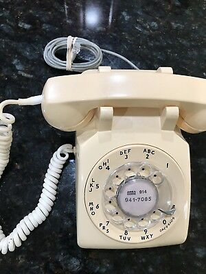Vintage Bell System Western Electric C/D 500 Ivory Rotary Dial Desk Telephone