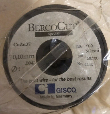 """Gisco BercoCut EDM Wire, CuZn 37, 0.10mm, .004"""", New in package"""