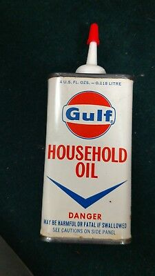 NOS Vintage GULF 4 Oz Household Oil Can - Uncut  Handy Oiler Tin Made In USA