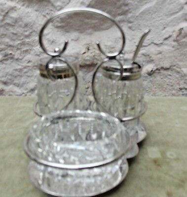 Silver Plate and Cut Glass Cruet Set With Mustard Spoon