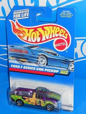 Hot Wheels 1998 Mainline #908 Ford F-Series CNG Pickup Purple w/ Tinted Windows