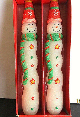 "Two, ""Moments of Wonder,"" Snowman Taper Candles from Russ. Hand-painted."