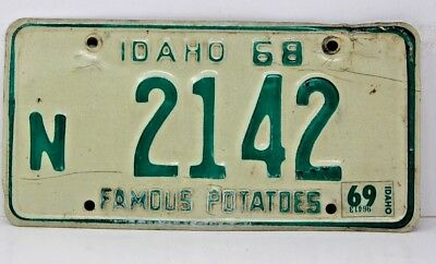 1968 IDAHO License Plate Collectible Antique Vintage W 1969 Tab N 2142