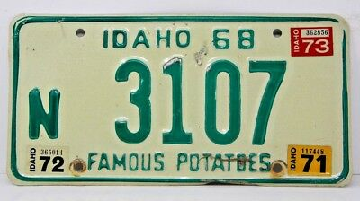 1968 IDAHO License Plate Collectible Antique Vintage W 1971 1972 1973 Tab