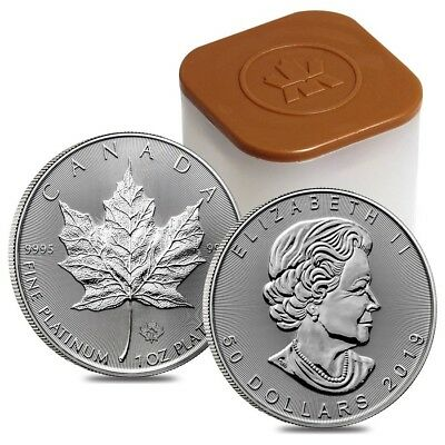 Roll of 10 - 2019 1 oz Platinum Canadian Maple Leaf $50 Coin .9995 Fine BU