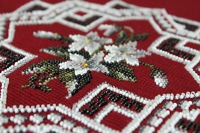 Vintage Wool Bead Embroidered Footstool Cushion Panel Wine Red White Fabulous