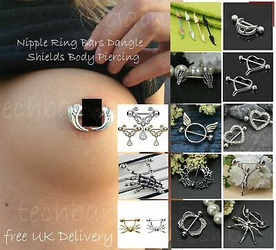 Surgical Vintage Nipple Ring Bars Dangle Shields Body Piercing Jewelry 14G UK