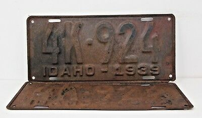 1939 IDAHO License Plate Collectible Antique Matching Pair Set 4K-924