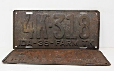 1939 IDAHO License Plate Collectible Antique Matching Pair Set 4K-318