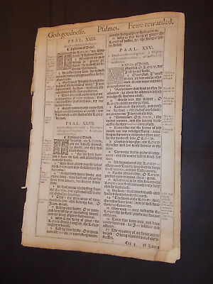 1611 King James Bible Leaf-Folio-The 23rd Psalm-The Lord Is My Shepherd!!!!!!