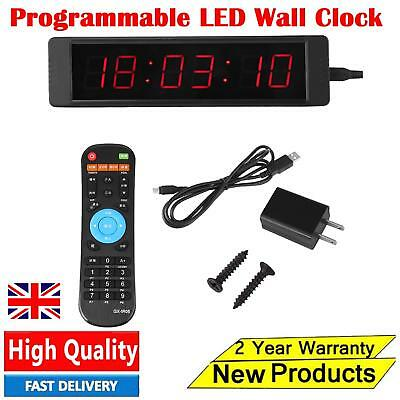Programmable Remote Crossfit Interval Timer Wall Clock for Fitness Training New
