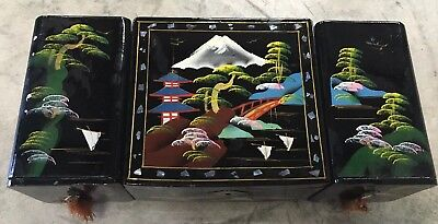 Japanese Hand Painted Black Lacquered Antique Vintage Jewelry & Music Box W/Key