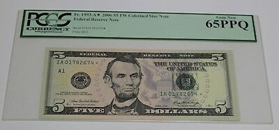 Fr 1993 A* 2006 Five Dollar Star Note $ 5 Boston PCGS Graded 65 PPQ GEM New