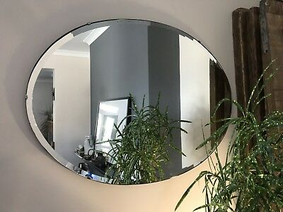 Vintage Oval Frameless Bevel Edge Wall Mirror