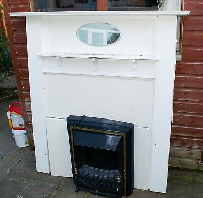 Solid Wood Retro Fire Place 1960's and 2000's Electric Fire Insert