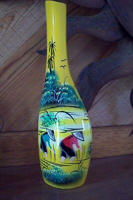 Yellow tall slender vase from Vietnam natural handmade with brush strokes
