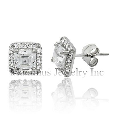 2.00Ct Halo Asscher Round Created Diamond Earrings 14K White Gold Square Studs