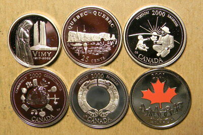 Canada 2002 silver proof 5 cents, 1992, 2000 (3) 25 cents, and 2001 unc. 25 cent