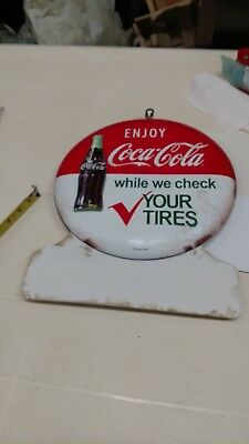 Enjoy Coca-Cola While We Check Your Tires Round Button Fully Embossed Metal Sign