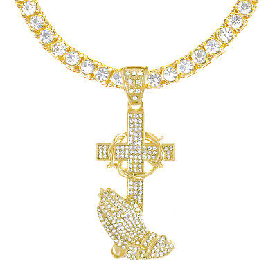 Cross Pray Hand XL Pendant G and S Tone 26 inch Tennis Chain Necklace THC 5086