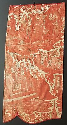 Antique Toile de Jouy Fragment Early 1800s Terracotta Hand Stitched French