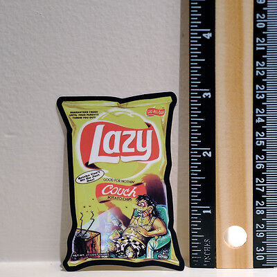 "Spoof Parody Lazy Chips Lay's funny art 2x3"" Decal sticker #4026"