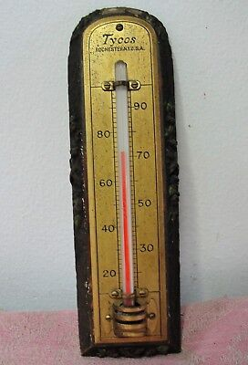 VintageTycos Brass & Wood Indoor Wall Thermometer Rochester, NY Made in USA