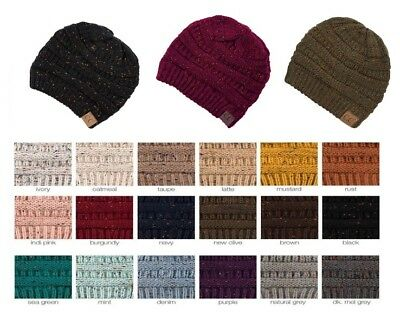 CC Beanie Soft Cable Knit Stretchy Warm Ribbed Winter Trendy Skully Hat Cap C.C