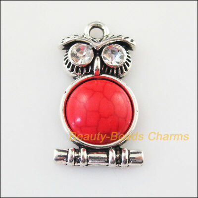 4 New Charms Animal Owl Red Turquoise Tibetan Silver Pendants Retro 16.5x28.5mm
