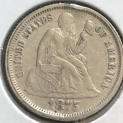 1875 S Seated Liberty Dime 10c Better Grade RARE San Francisco #12411