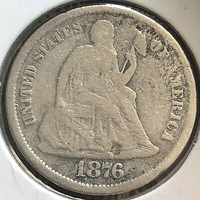 1876 S Seated Liberty Dime 10c Better Grade RARE San Francisco #12417