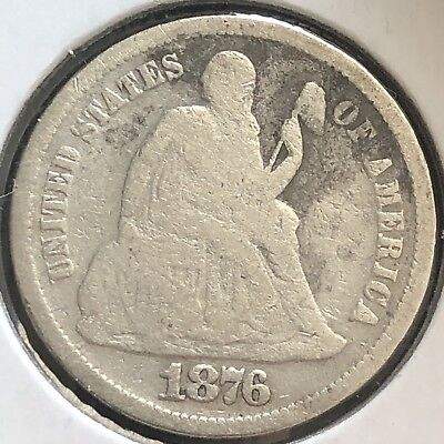 1876 S Seated Liberty Dime 10c Better Grade RARE San Francisco #12418