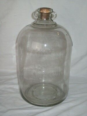"""Rare"" ~ One Gallon Clear Glass Two Finger Loop Jug ~ Great  Antique Condition !"