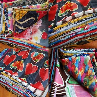 JOB LOT 10 chiffon Multi Colour Print Vintage Square Scarves Original 70s - 90s